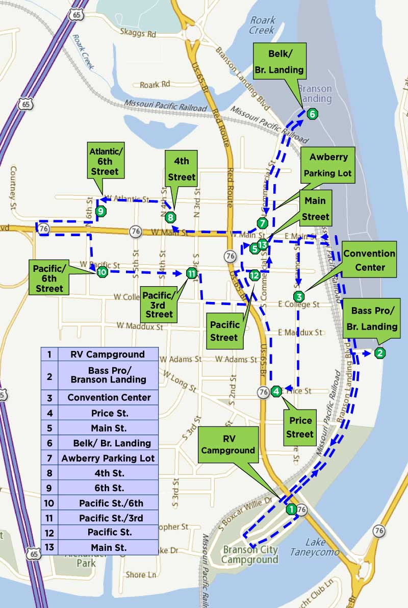 Branson Trolley Map