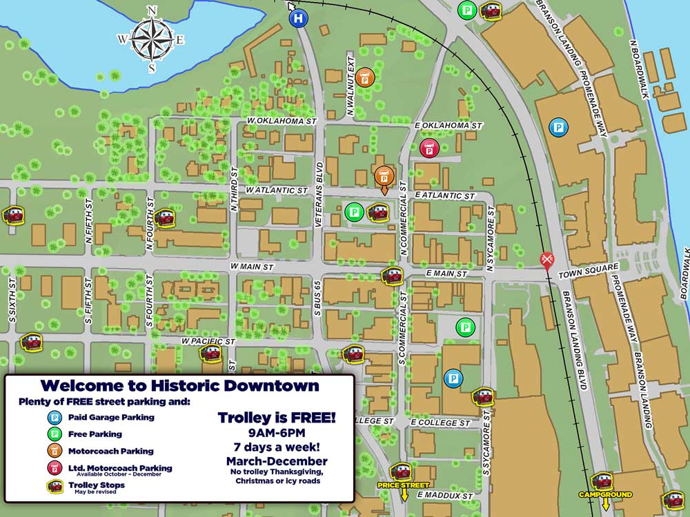 Parking Is Easy In Historic Downtown Branson RideSparky - Branson city map