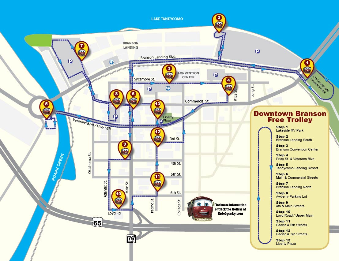 Downtown Branson Trolley Route Map